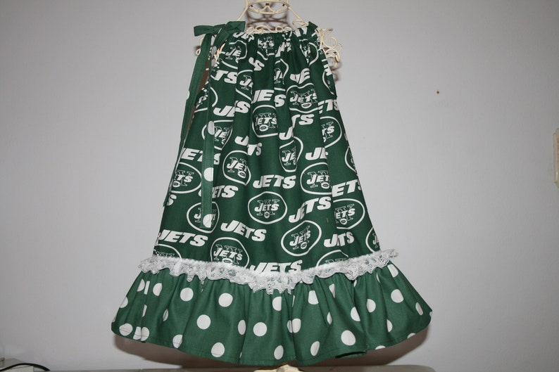 26b51446 Girls New York JETS Pillowcase Dress w/ Adjustable Tie Infant Infants  Toddler Toddlers Youth Football Dresses Select Tab 4 Size ~w/~w/o lace