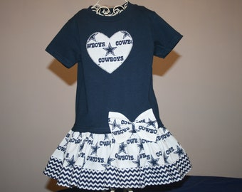 4T Baby Girls Dallas COWBOYS T shirt Dress Toddler Toddlers Football Game Day Dresses