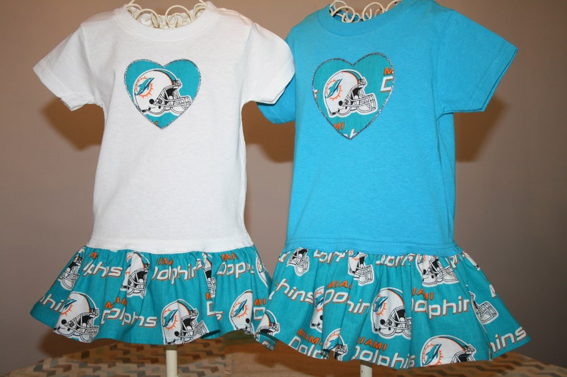 outlet store 4cc72 181f5 Little Girls Miami DOLPHINS T shirt Dress Infant Infants Toddlers Toddler  Youth Football Dresses SELECT Tab4 Size/Style/Heart Size/ColorT