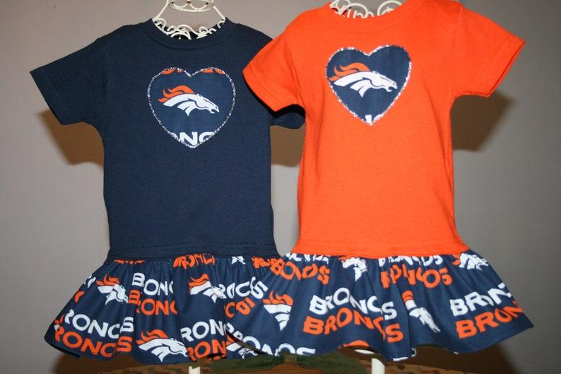 newest a28e9 56436 Little Girls Denver BRONCOS T shirt Dress Infant Infants Toddler Toddlers  Youth Football Game Dresses SELECT Tab4 Size/Color/Heart App Size