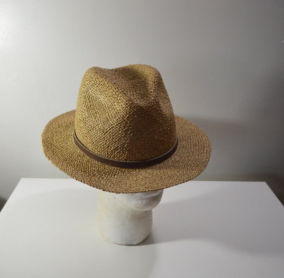 Vintage Men s Straw Fedora Hat XLarge Made in  36c350059fa