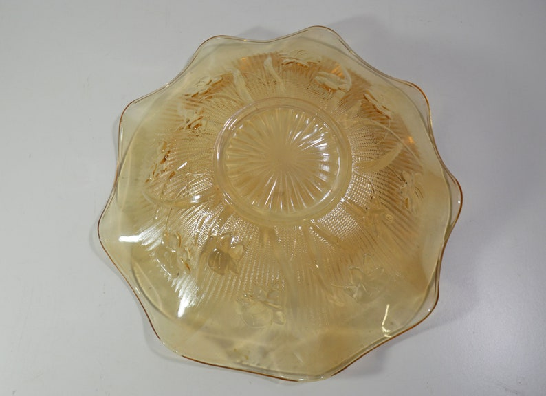 Two Marigold Iridescent Carnival Glass Table Bowls