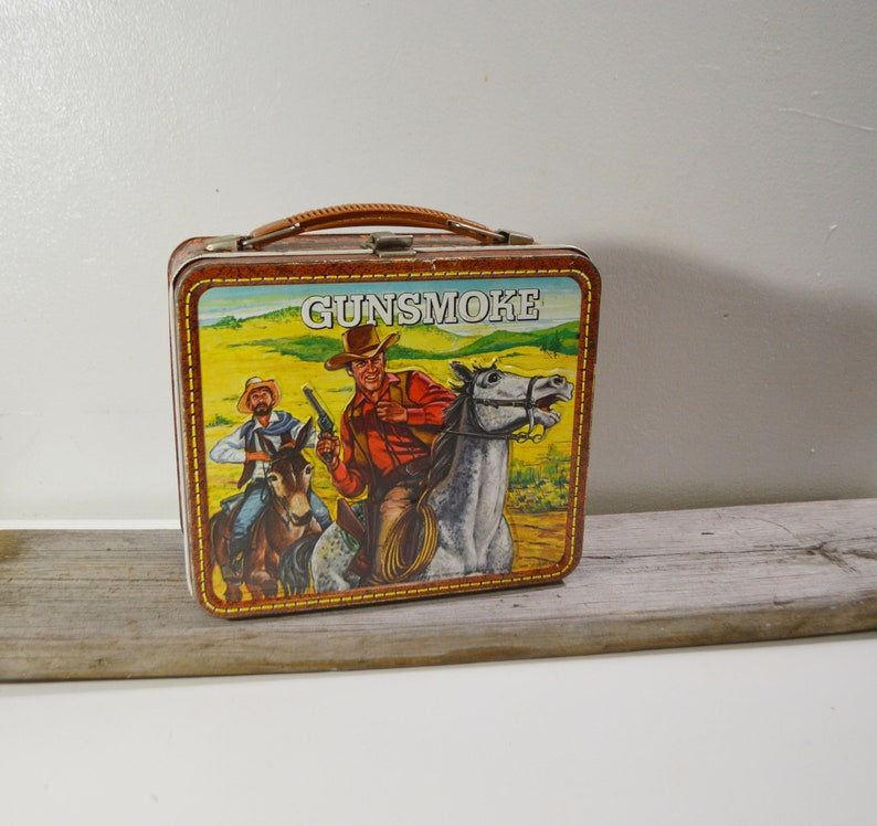 Gunsmoke Metal Lunchbox/No Thermos/1970s