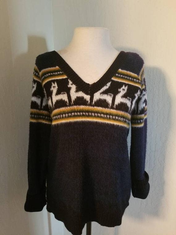 Navy blue alpaca sweater/Ski sweaters/Peruvian/Ran