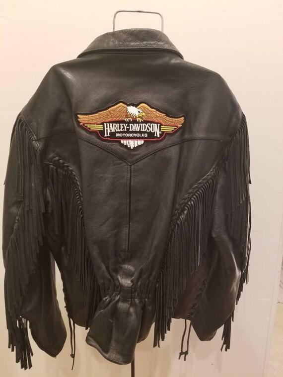 Harley Davidson black fringe leather jacket/ Wilso