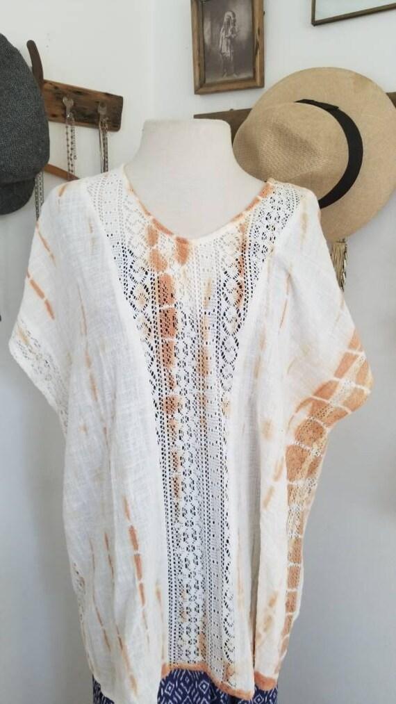 Tie dyed bohemian tunic, peasant tops/hippie blous
