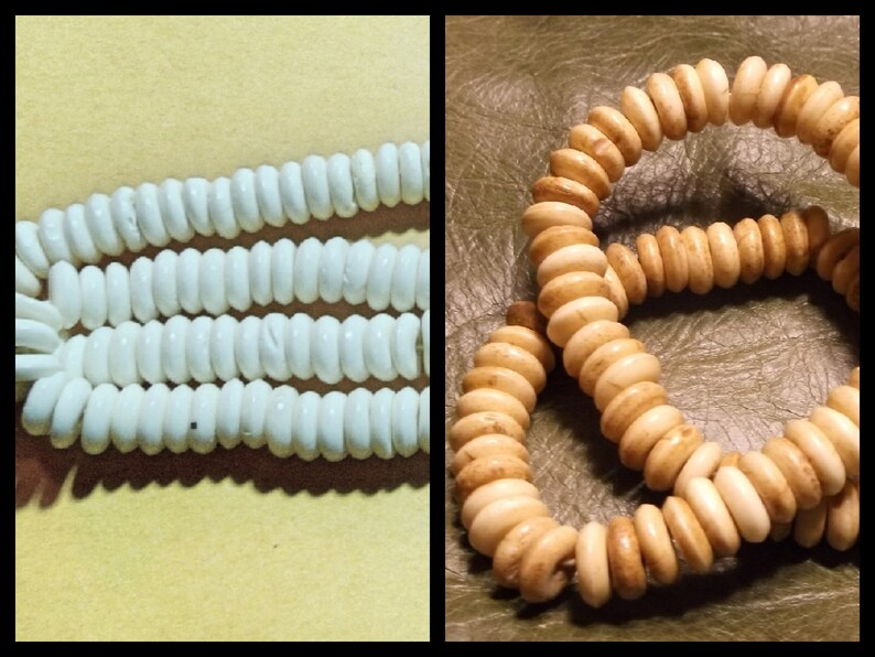 "Carved Bone Beads Buffalo Bone Hair Pipe Beads Brown Color 1/"" 50pc"