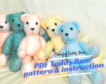 Teddy Bear Tutorial & Pattern, Stuffed toy pattern. This very simple tutorial will help you learn how to sew a teddy bear.