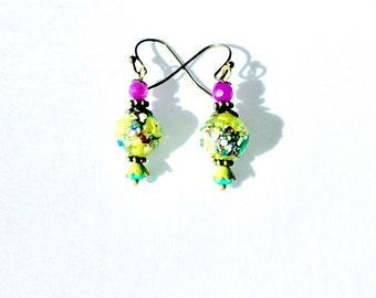 Spring green Fused glass beads chartreuse Mother's Day fuschia earrings