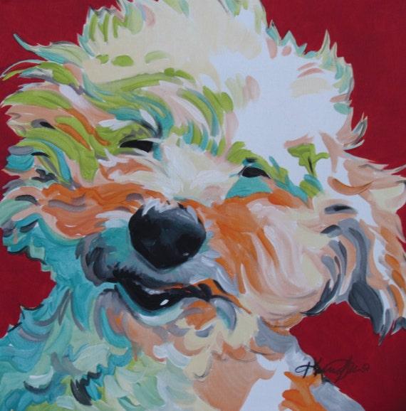 Enmarañado de caniche Maltipoo Bichon Frise arte perro | Etsy