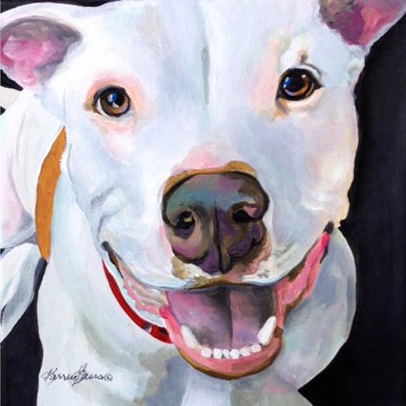 Pitbull perro arte regalos arte de Pitbull perro blanco | Etsy