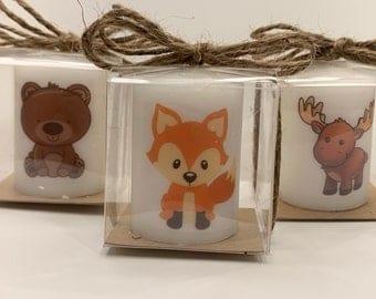 Woodland creatures Baby shower favors, neutral favors, heart themed favors, Baby shower Favors, Personalized affordable, unique