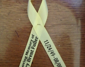 Personalized 5/8 ribbon pinned, wedding favors, baptism favors, remembrance ribbon, fundraiser ribbons, memorial ribbons