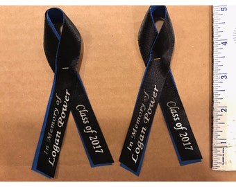 Personalized 5/8 Memorial ribbon pinned, wedding favors, baptism favors, remembrance ribbon, fundraiser ribbons, memorial ribbons