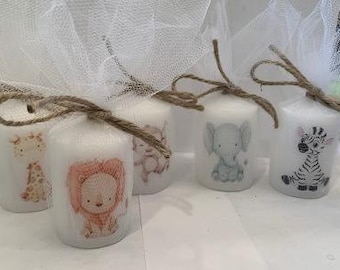 Jungle animal favors, baby jungle animals, jungle baby shower, jungle babies, candle favors, custom favors, gender neutral