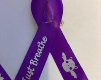 Personalized 5/8 Memorial ribbon pinned, wedding favors, baptism favors, remembrance ribbon, fundraiser ribbons, memorial ribbons