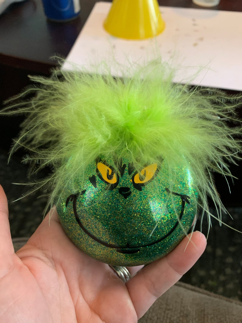 Grinch ornament with lime green feather hair Christmas image 0