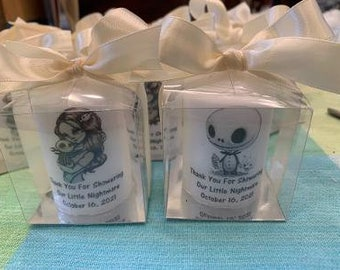 Jack and Sally Like Baby shower Favors, Awaiting our sweet little Nightmare, Skeleton themed Candle Favors