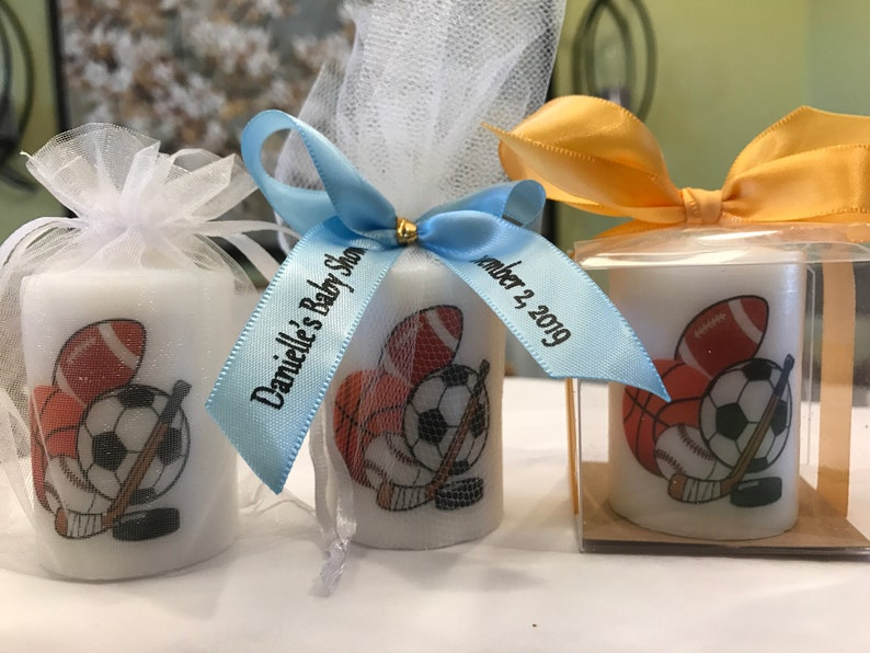 Sports  its a boy Baby Shower Candle Favor 1st Birthday image 0