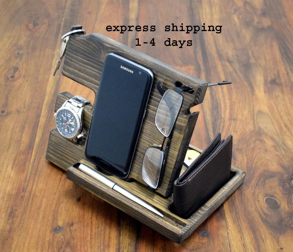 NightStand Anniversary Gift for Men Desk organizer Nightstand Dock Wood Organizer Docking station Glasses holder Galaxy iphone ChargingStand
