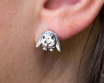 Sterling silver lop ear rabbit post earrings Bunny studs House rabbit gifts