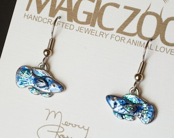 Colorful Betta Dime Earrings Stainless Steel Ear Wires Handmade Siamese Fighting Fish