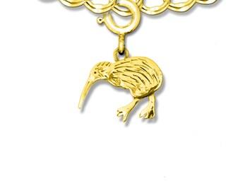 14K Solid Gold Kiwi Bird Charm