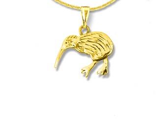 14K Solid Gold Kiwi Bird Pendant