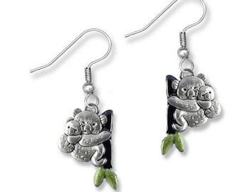 Enamel Hand Painted Koala Earrings