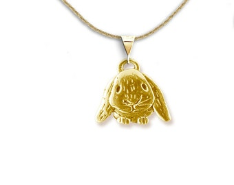 14K Solid Gold Lop-Eared Rabbit Pendant