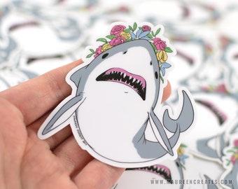 Flower Crown Shark Vinyl Sticker