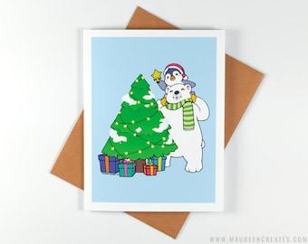 Penguin & Polar Bear Christmas Tree - Christmas Card - Greeting Card