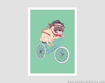 "Hipster Pug Art Print - 5"" x 7"""
