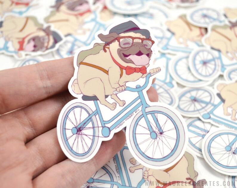 Hipster Pug Vinyl Sticker image 0