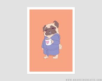 "Coffee Pug Art Print - 5"" x 7"""