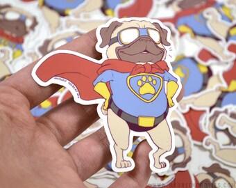 "Superhero Pug 3"" Vinyl Sticker"