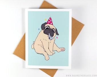 Party Pug Greeting Card - Birthday Card
