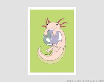 """Axolotl Art Print - 5"""" x 7"""""""