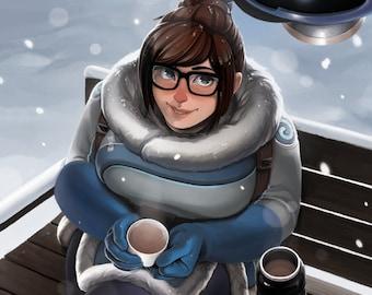 "Overwatch - Snow Bae Mei Art Print - 8"" x 10"""