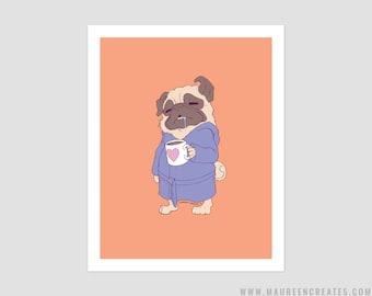 "Coffee Pug Art Print - 8"" x 10"""