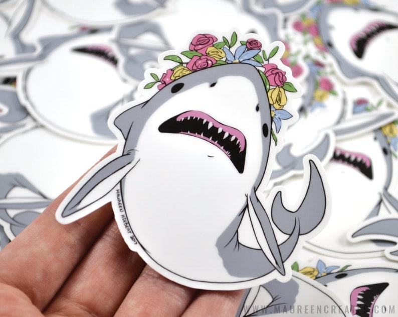 Flower Crown Shark Vinyl Sticker image 0