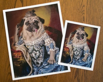 "Pug Royalty - Marie Antoinette Oil Painting Print - 13"" x 16"""