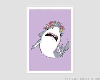 """Flower Crown Shark Art Print - 5"""" x 7"""""""
