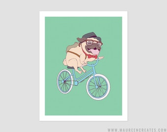 "Hipster Pug Art Print - 8"" x 10"""