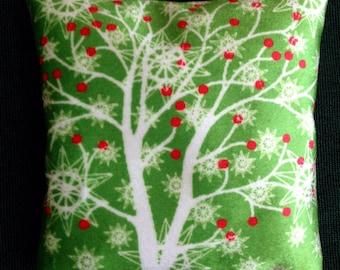 Winter Tree and berries, printed velvet sachet cushion filled with fragrant balsam fir needles