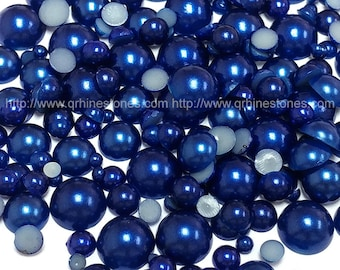 800pcs Flat Back Pearl Dark Blue in assorted sizes Sapphire Pearls mixed size from 2mm to 10mm
