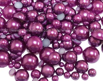 800pcs Flat Back Pearl Dark Purple in assorted sizes mixed size from 2mm to 10mm Amethyst