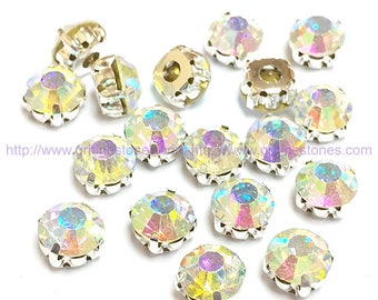 Sew on rhinestones Crystal AB Round chatons silver color prong setting 4mm  5mm 6mm 7mm 8mm 10mm fc5b8d391f28