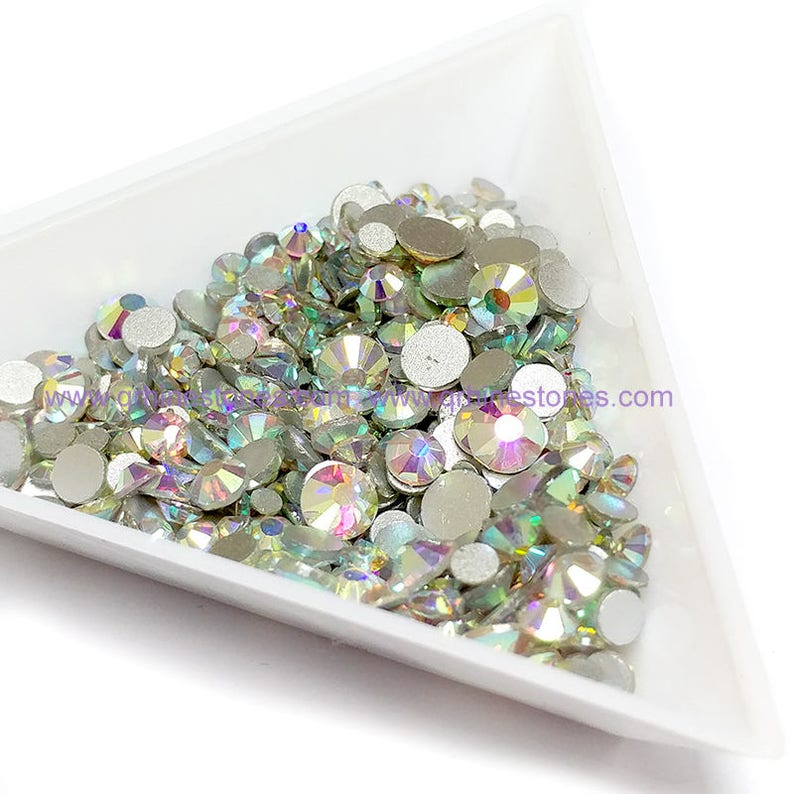 Mix Size Flat Back Rhinestones Crystal AB 500pcs in 2mm to image 0