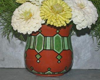 Slate Clay - Redware - Vessel - Green Art Deco Design